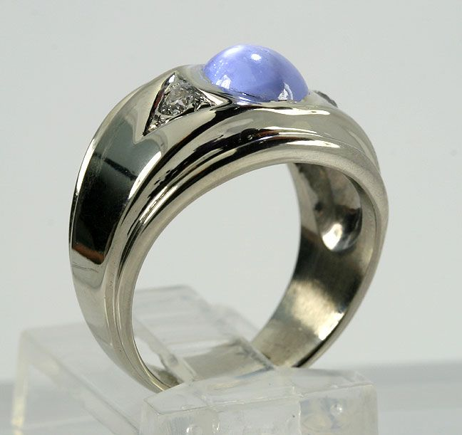ANTIQUE 2.92CT NATURAL BLUE STAR SAPPHIRE EURO DIAMOND 14K WG RING