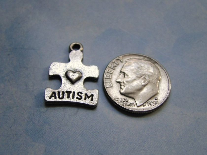 Autism Puzzle Piece Shaped LEAD FREE Pewter Charm