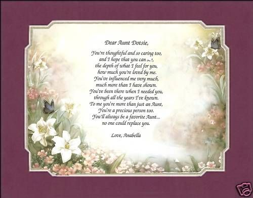 PERSONALIZED MOTHER SISTER AUNT POEM PRINT MATTED GIFT