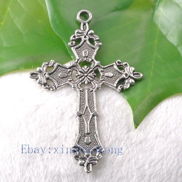 FREE SHIP 20pcs Tibetan Silver Exquisite Cross Charm Pendents KP1177
