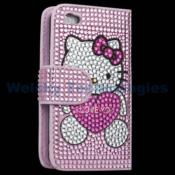 PINK HELLO KITTY LEATHER BLING FLIP CASE FOR IPHONE 4S 4 4G 4Gs PC99