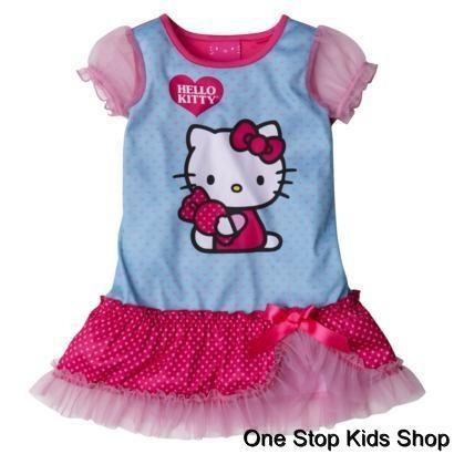 HELLO KITTY Girls 2T 3T 4T 5T Pjs NIGHTGOWN Pajamas Dress Shirt